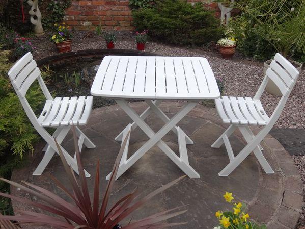 2 Seater Tropea White Resin Bistro Set Folding 3 Piece