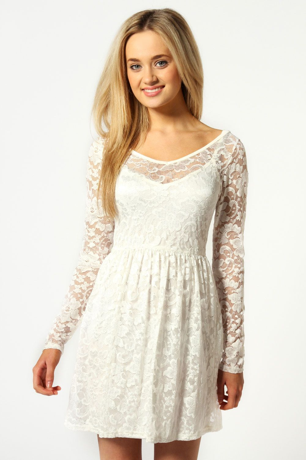Dress white lace sleeves