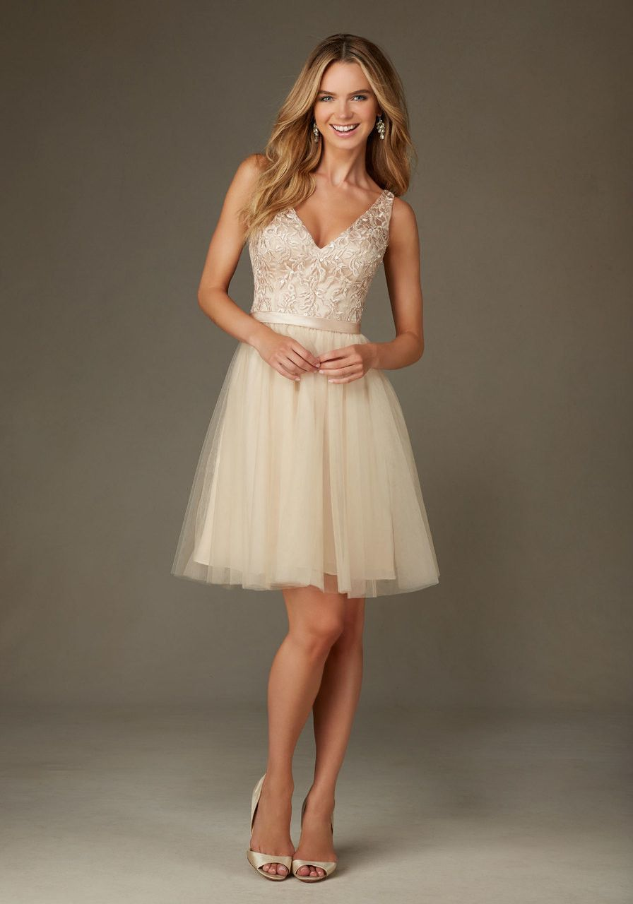 short bridesmaids dress with embroidered and beaded bodice and