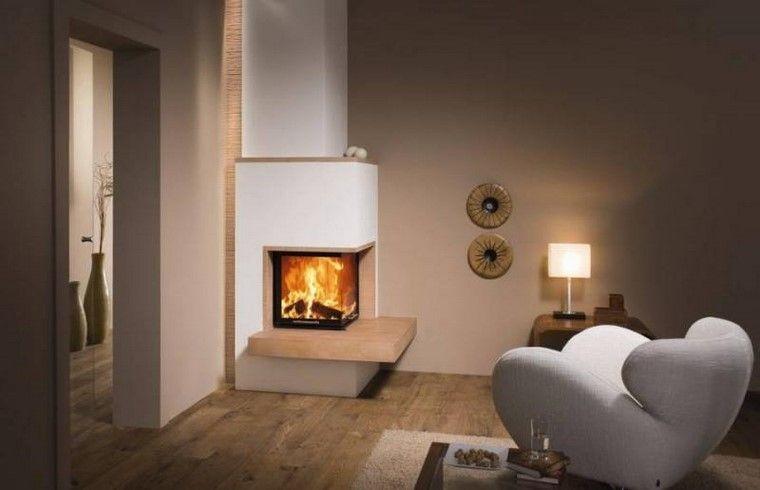 chimeneas modernas revestimiento granito salon ideas Interiores - chimeneas modernas