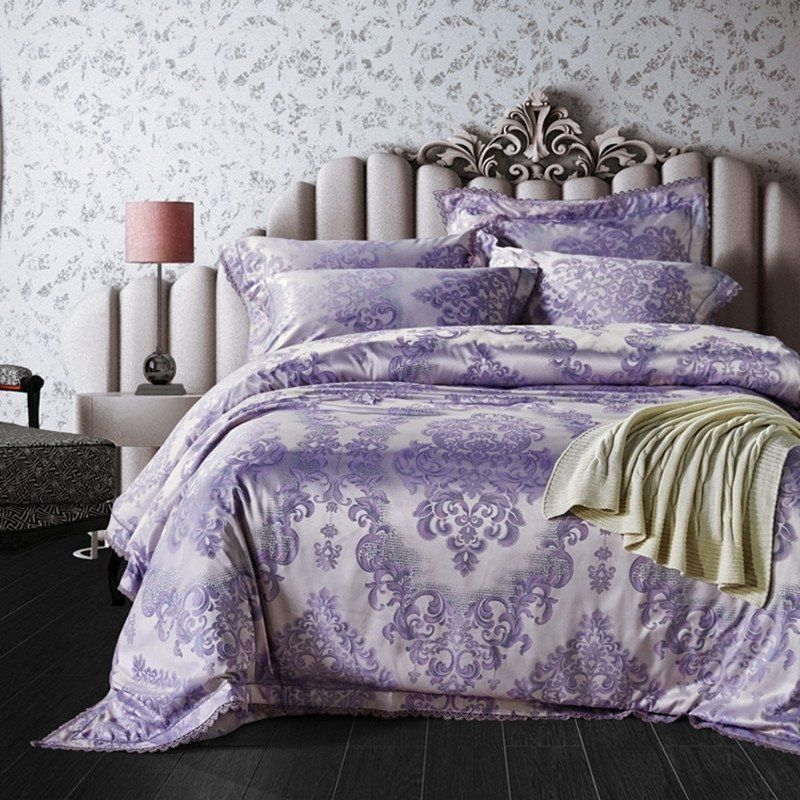 Pastel Purple And Silver Victorian Gothic Pattern Western Bohemian Chic Baroque Style Full Queen Size Bedd Bed Linens Luxury Bedding Sets Purple Bedding Sets