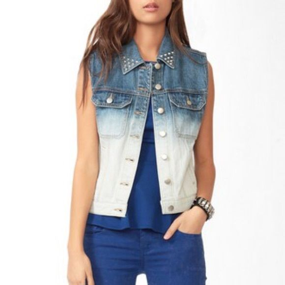 Ombré sleeveless denim jacket ❗️lowest price❗️ Class denim blue to a very light (almost) white ombré jacket. Never used! True to size Forever 21 Jackets & Coats Jean Jackets