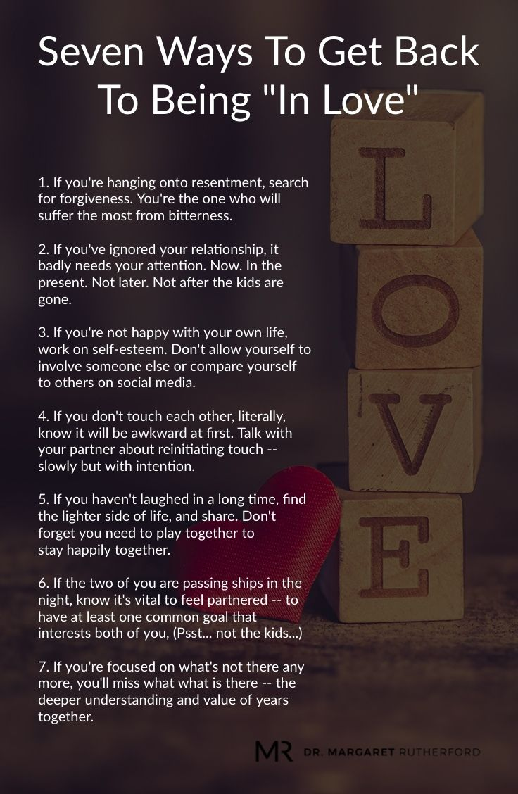 """Seven Ways To Get Back To Being """"In Love"""" - Dr. Margaret Rutherford"""