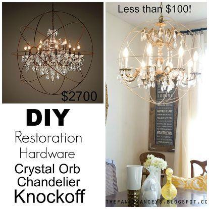 Diy Restoration Hardware Knock Off Orb Chandelier | Orb chandelier Restoration hardware and Restoration  sc 1 st  Pinterest & Diy Restoration Hardware Knock Off Orb Chandelier | Orb chandelier ...