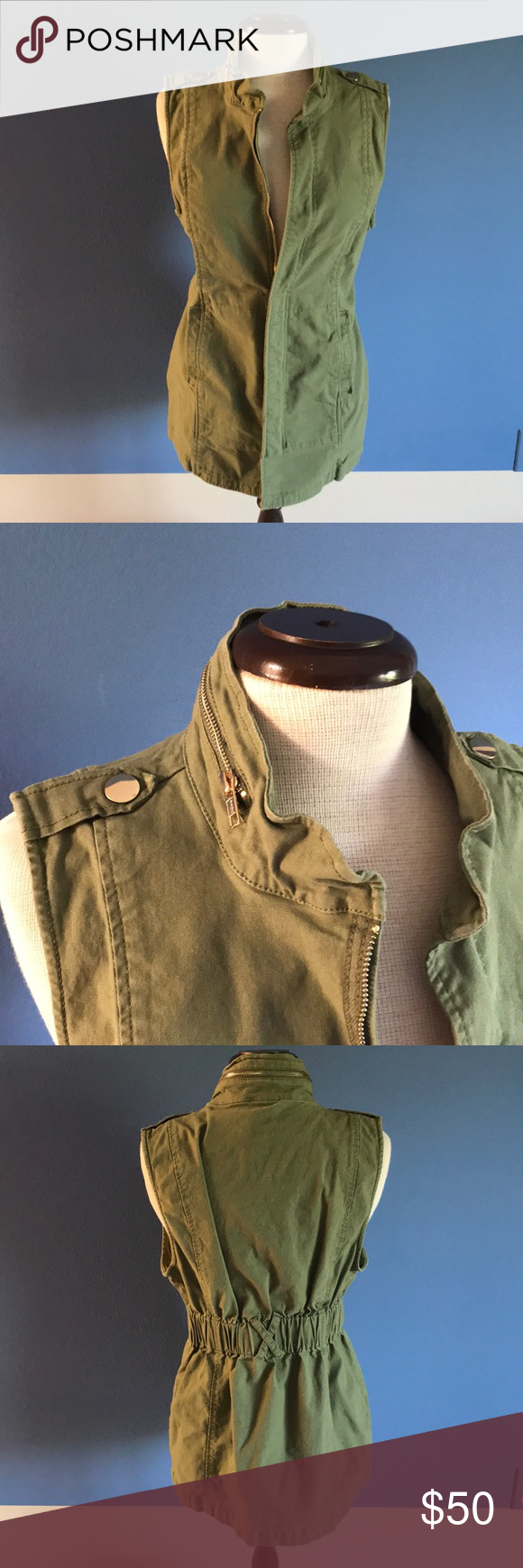 Cabi army green vest my posh picks pinterest