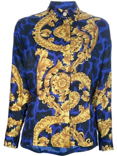 Gianni Versace Camisa Vintage Azul.  2e55d3156e3