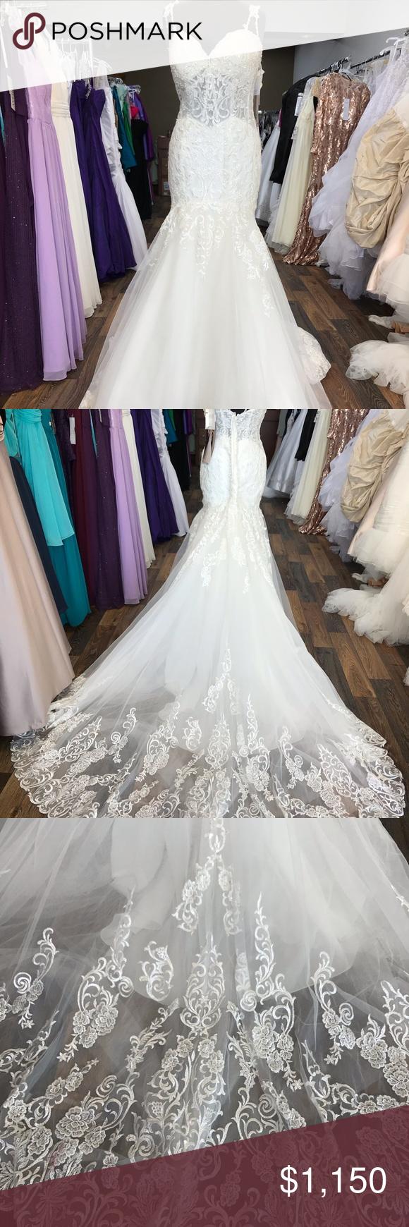 Mori Lee Wedding Dress Style 2024 Appliqued Shoulder Straps Meet