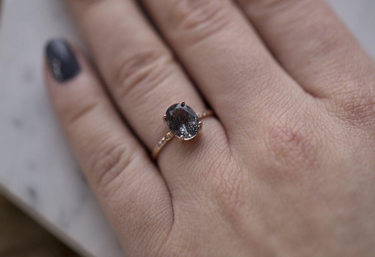 Black Tourmaline In Quartz Engagement Ring With Pave Diamonds Quartz Engagement Ring Tourmaline Engagement Ring Black Tourmaline Ring