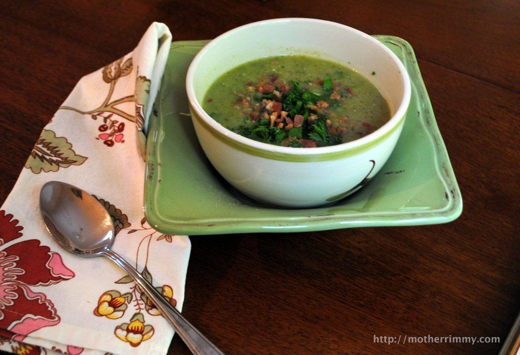 Cream of Broccoli Soup with Bacon @FoodBlogs