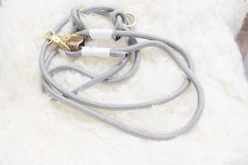 Hundeleine 3 fach verstellbar Grau, Weiß, Gold