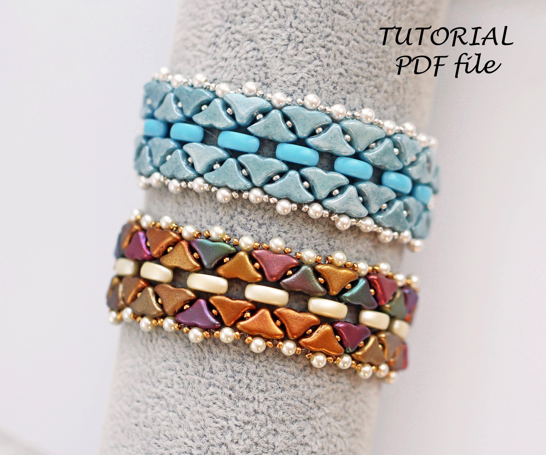 Bracelet tutorial Bead jewelry tutorial ~ Helios Beading tutorial Beading pattern Arcos Minos Puca ~White bracelet tutorial Princess
