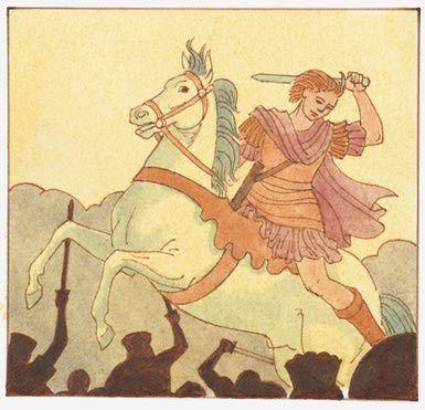 llustration di Alessandro Magno su in battaglia a cavallo con la spada sopra la testa - Dorling Kindersley / Getty Images