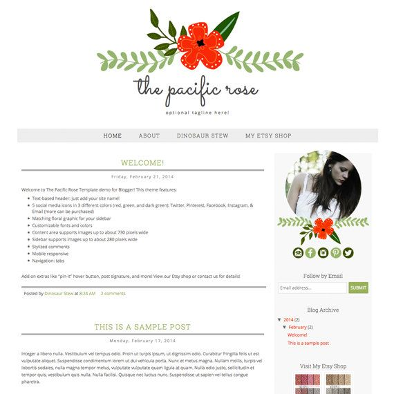 Instant Download Blogger Template The Pacific By Dinosaurstew 30 00 Blogger Templates Blog Template Free Blogger Templates