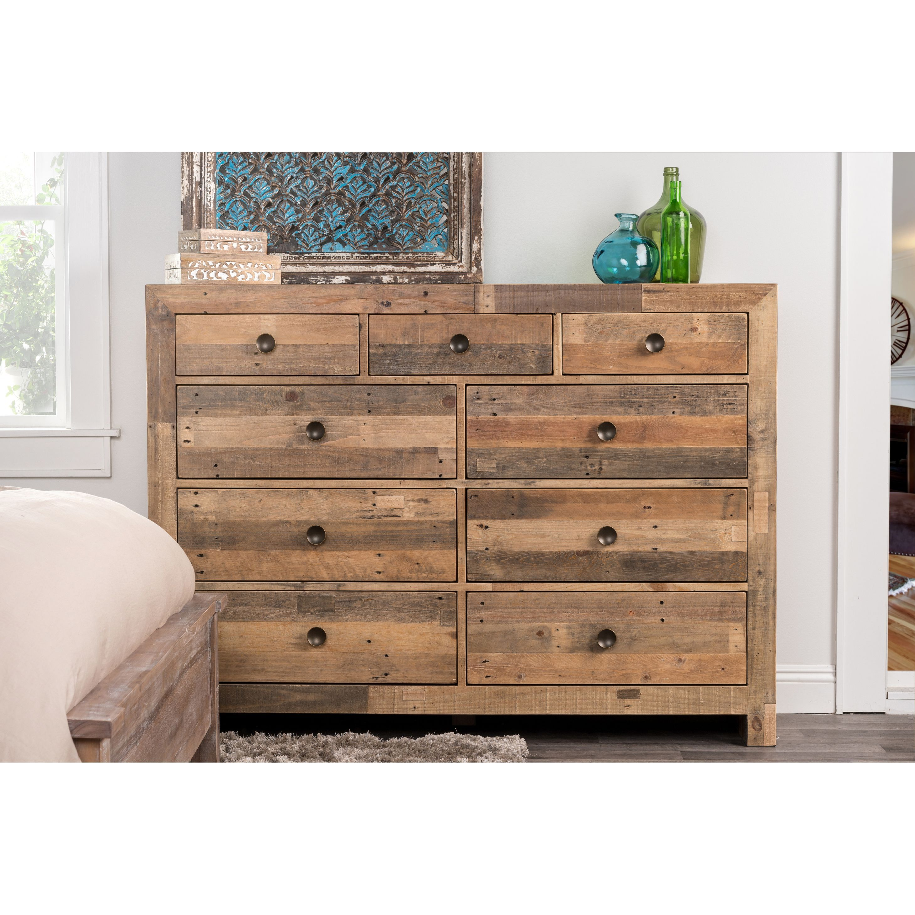 kosas home hand crafted oscar natural recovered shipping pallets   - help the planet breathe easier with this ecofriendly dresser constructedby hand from recycled