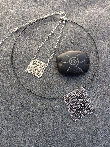 Ketten kurz - Silberkette QUADRAT Anhänger Roh-Diamant - ein Designerstück von…