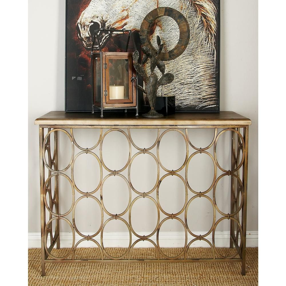 Null Distressed Gold Brass Lattice Console Table Metal Console Table Console Table Grey Console Table