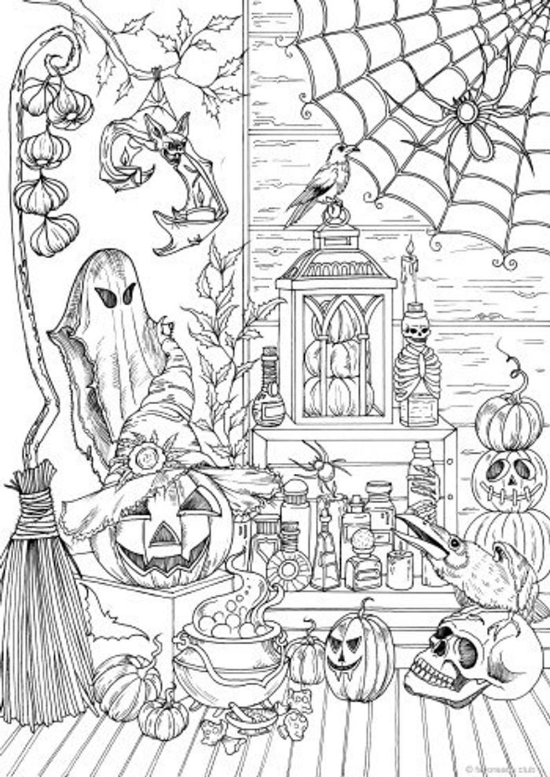 Halloween Stuff Printable Adult Coloring Page from