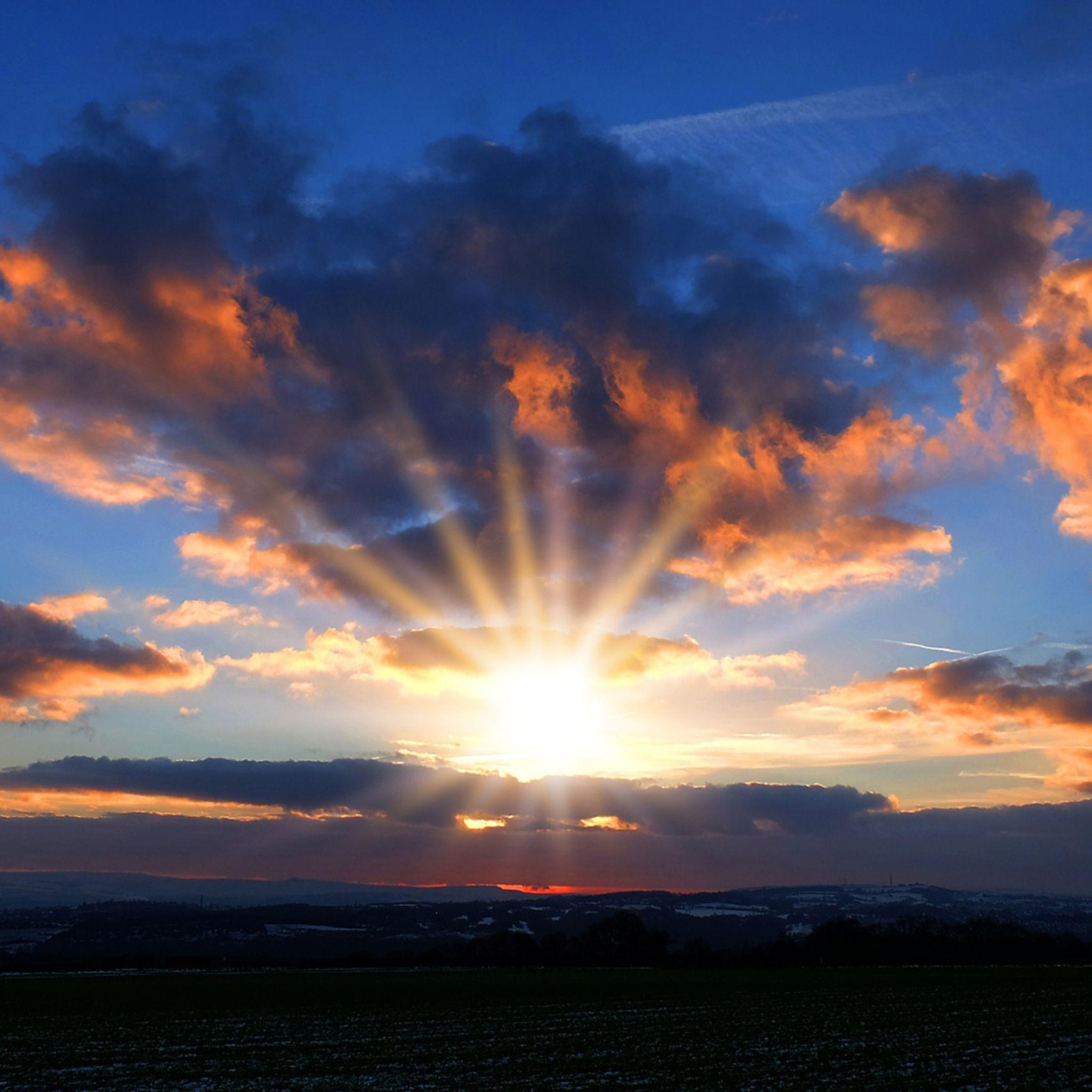 2048x2048 wallpaper céu, pôr do sol, nuvens, horizonte | paisagens