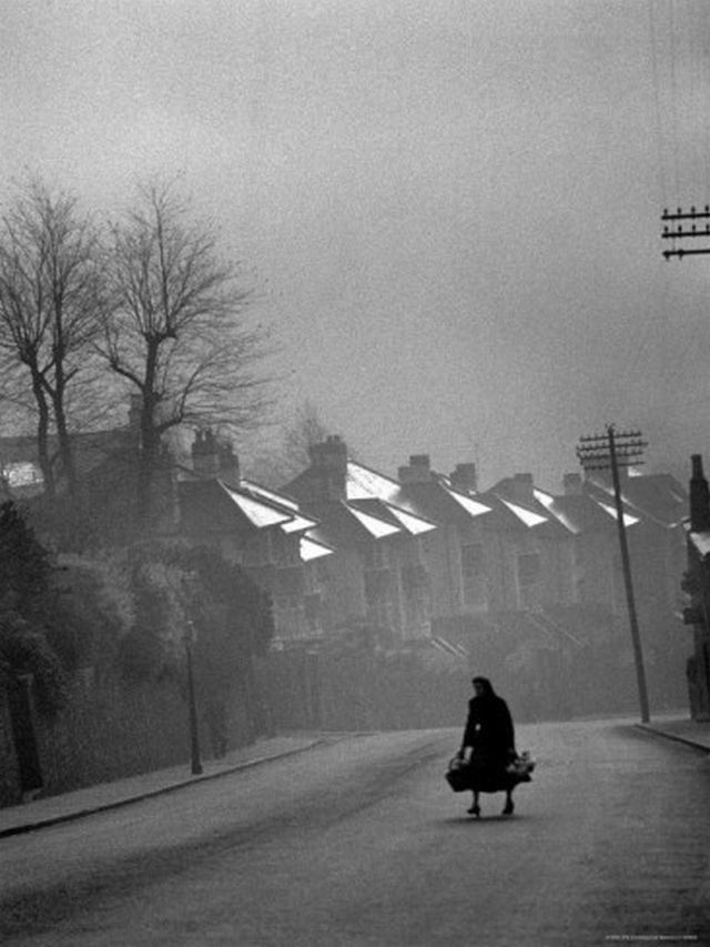 yama-bato:  Fog Coming in over the Chimney Pots in Wales Photographic Print - 12 x 16 in  Carl Mydans