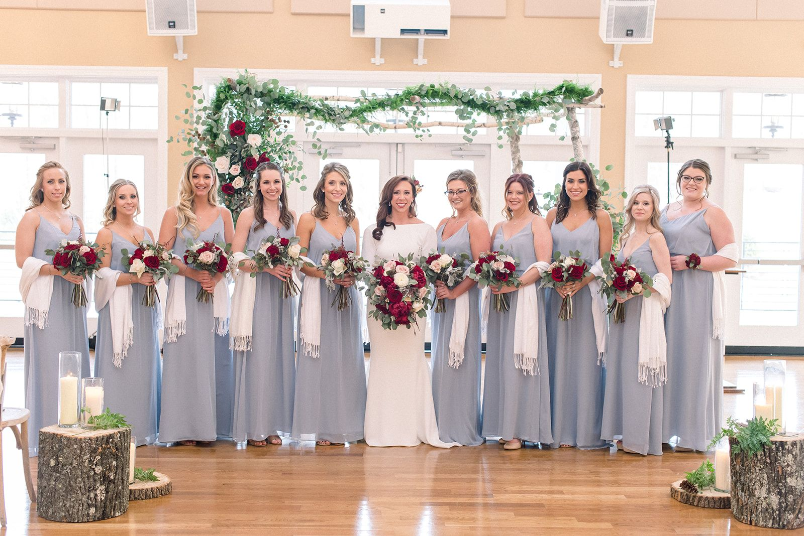 Light grey bridesmaid dresses
