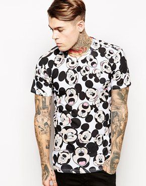 c410560fdfef32 Enlarge Eleven Paris T-Shirt with All Over Mickey Mouse Print. eleven paris  x ...