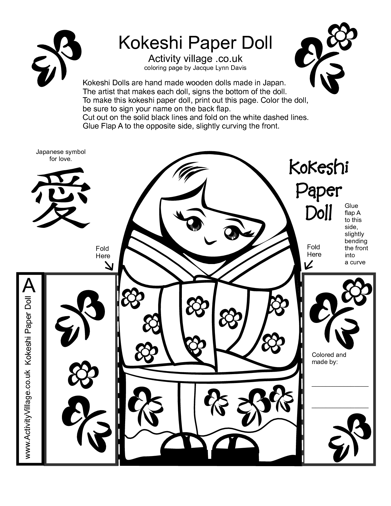 Kokeshi Paper Doll Craft