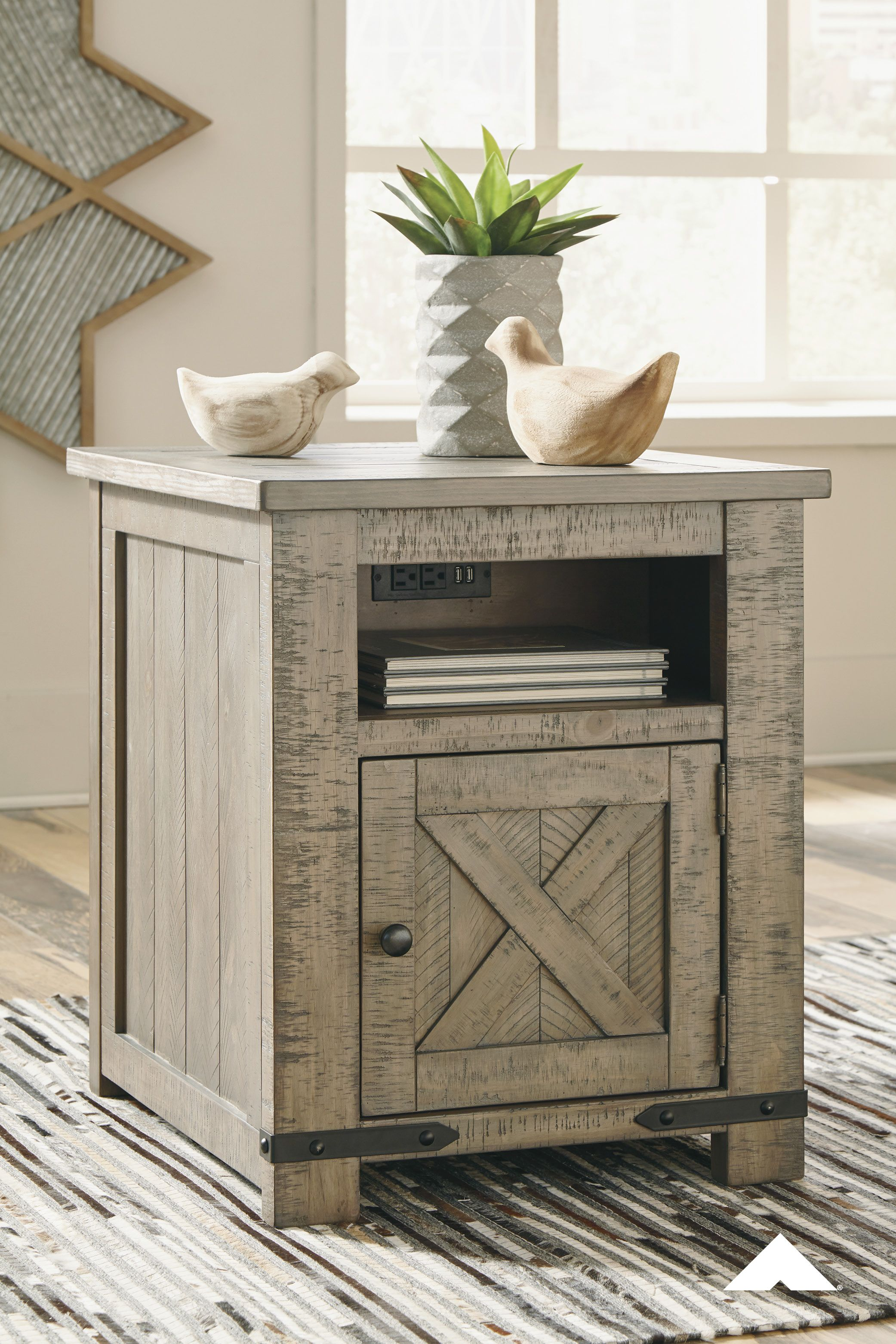 Aldwin Gray Rectangular End Table Crafted With Solid Pine Wood Treated To A Weathered Gray Fin Farmhouse End Tables End Tables With Storage Rustic End Tables