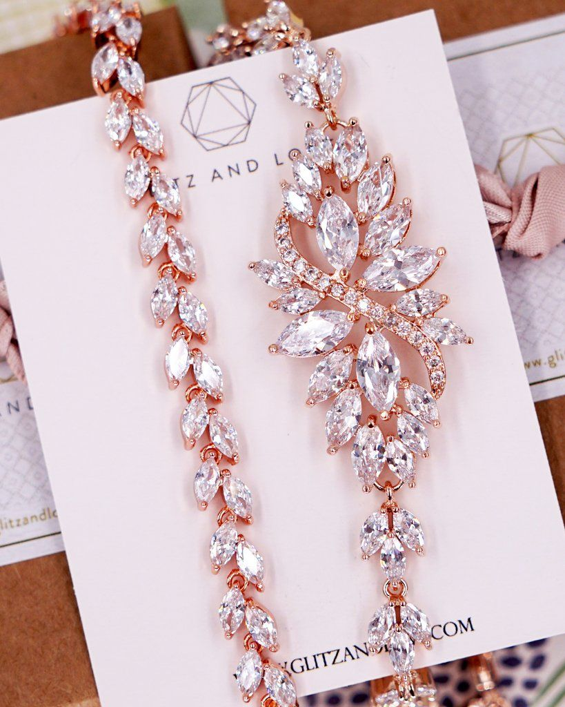 wedding earrings and necklace Bianca Rose Gold Jewelry Set bridal jewelry Rose Gold Pear Wedding Jewelry Set wedding jewelry