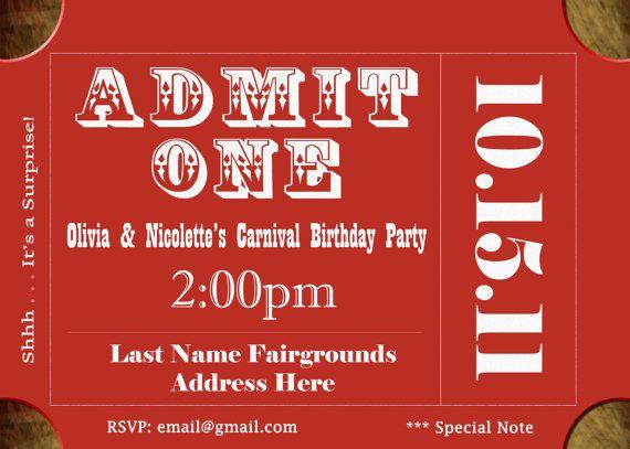 Carnival Circus Birthday Party Invite Invitation Card Admit One 1 – Carnival Ticket Birthday Invitations