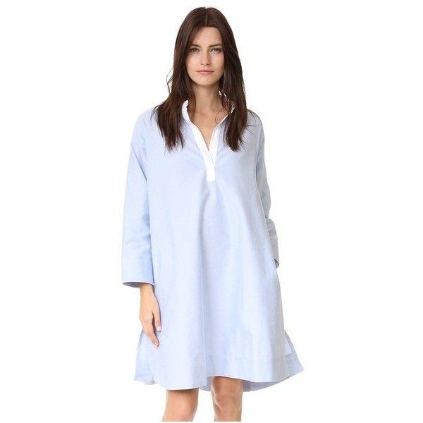 Sleepy Jones Madeleine Slit Dress (£230) ❤ liked on Polyvore featuring dresses, blue, long-sleeve shift dresses, pocket shift dress, blue dress, cotton dresses and long sleeve dress