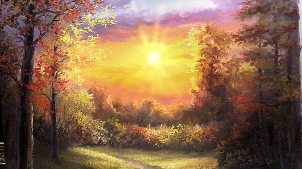 Forest At Sunset Paint With Kevin Kevin Hill Paintings Sunset Painting Landscape Painting Tutorial