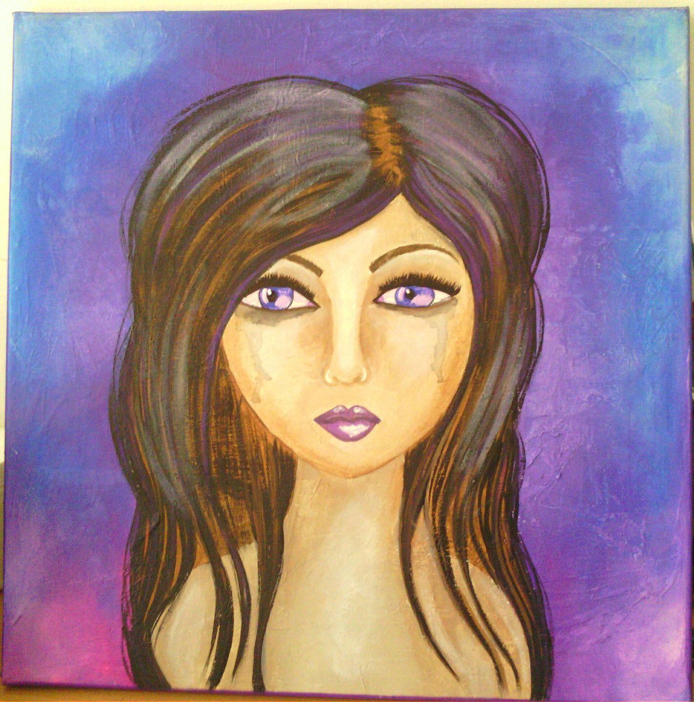 tableau portrait peinture acrylique femme peintures par nathalie t creations mes dames. Black Bedroom Furniture Sets. Home Design Ideas