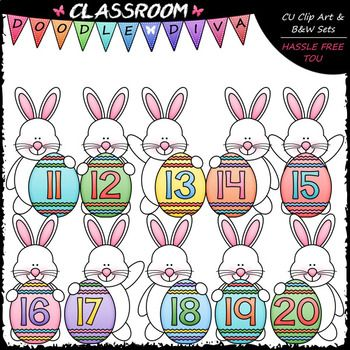 Easter Bunny Math Numbers (11-20) - Clip Art & B&W Set | Math ...