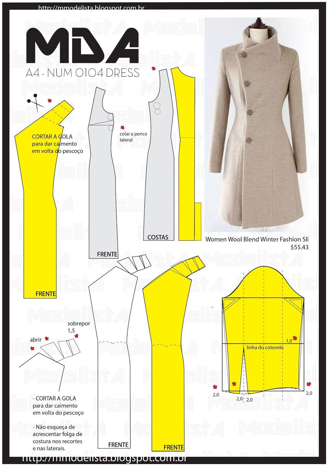 ModelistA: A4 NUM 0104 DRESS | moda | Pinterest | Abrigos, Costura y ...