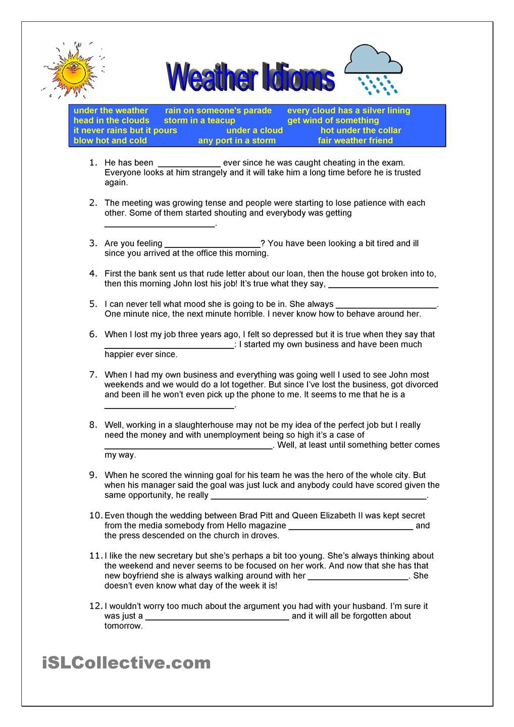 Weather Idioms Business Pinterest Idioms Esl And Worksheets