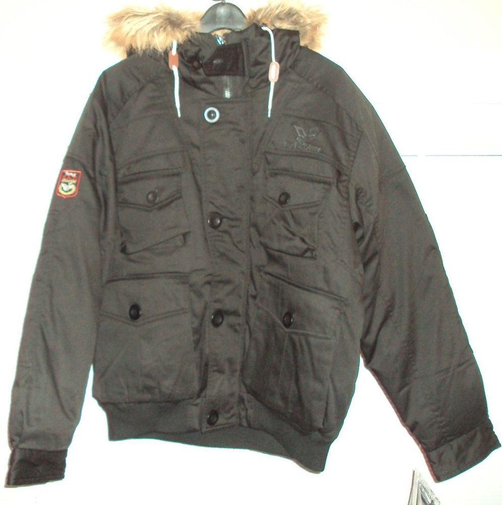 6ab246fd1 Vintage 90's Triple F.A.T. Goose Down Black Brecon Buff Coat Jacket ...