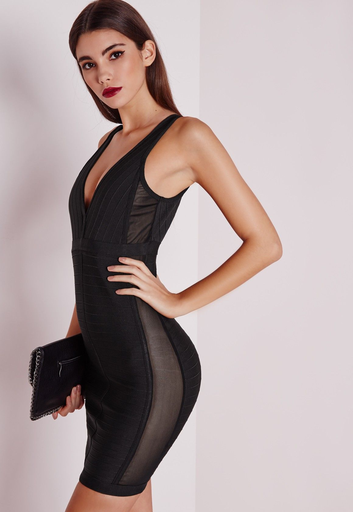 Black dress mini - Missguided Premium Mesh Side Panels Bandage Mini Dress Black