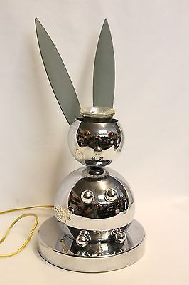 Rare Space Age Chrome Torino 1960 Robot Rabbit Table Lamp Eames Era