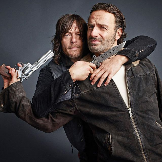 They're back! #TheWalkingDead returns tonight for the second half of Season 6. For all the scoop on what's coming up, plus more photos from our cover shoot with Norman Reedus and Andrew Lincoln, head over to tvinsider.com/walkingdead.  Photo by Jeff Lipsky (@jefflipsky) for TV Guide Magazine  #TheWalkingDead #WalkingDead #TWD #TWDSeason6 #ihearttwd #NormanReedus #AndrewLincoln #DarylDixon #RickGrimes @amcthewalkingdead @bigbaldhead