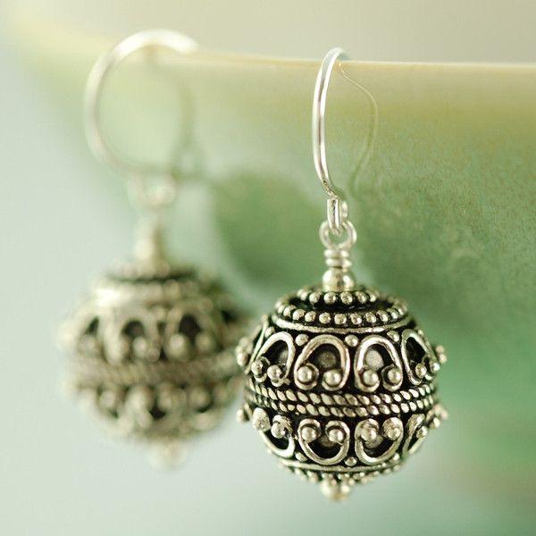Back in stock, Round Sterling silver Bali dangle earrings