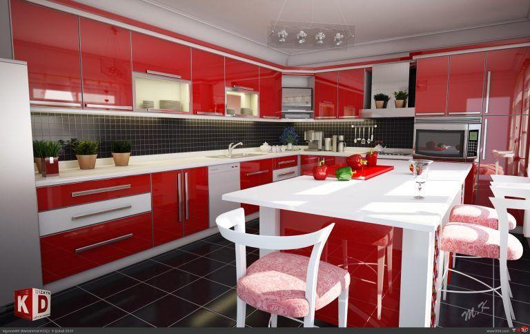 Kirmizi-Mutfak-Modeli · Dekorasyon, Ev Dekorasyonu, Ev Tasarımı Döşemesi   Dekorasyon, Ev Dekorasyonu, Ev Tasarımı Döşemesi