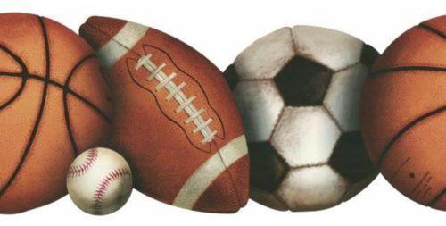 Lets Play Ball Prepasted Wallpaper Border Football Baseball Sports Wall Decor Sports Wall Sports Wall Decor Sports Wallpapers