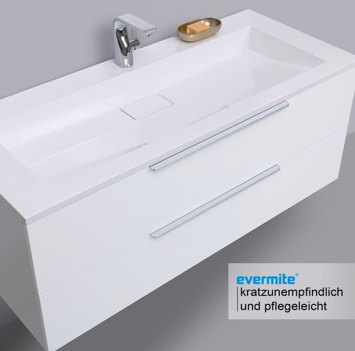 Design Badmobel Cubo 120 Cm Evermite Waschbecken Weiss Hochglanz Lack Waschbecken Badezimmerideen Waschtischunterschrank