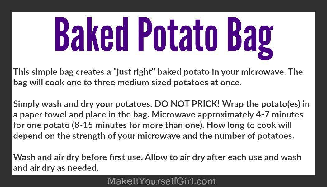 Diy Microwave Potato Bag Sewing Pinterest Potato Bag