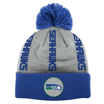 d31a94d5415 Seattle Seahawks Mitchell   Ness Vertical Wordmark Cuffed Pom Knit Beanie –  Gray