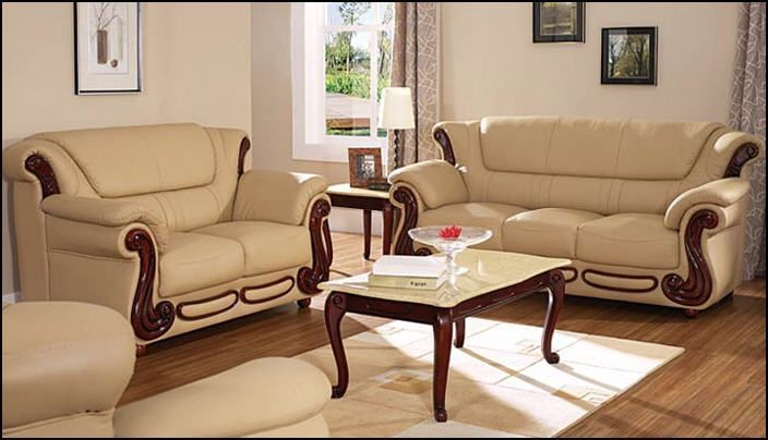 Honey Leather With Wood Living Room Set 7981