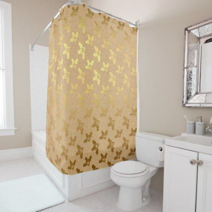 Metallic Gold Christmas Holly Shower Curtain Metal Style Gift - Metallic gold bathroom accessories
