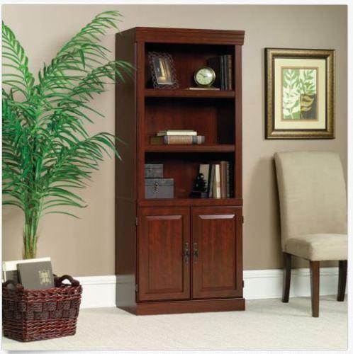 Cherry Bookcase Cabinet Bookshelf Storage Doors Shelves Home Office Display Wood Sauder Traditional