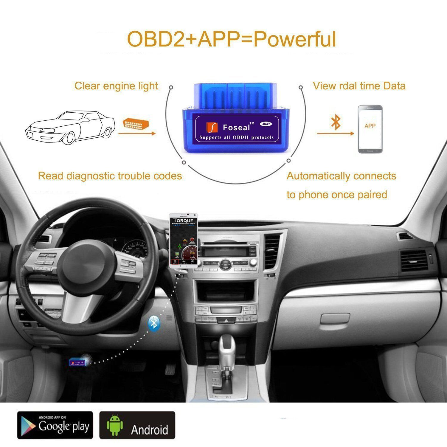 Foseal Bluetooth OBD2 OBD Scanner Check Engine Light OBDii Bluetooth Car Scan