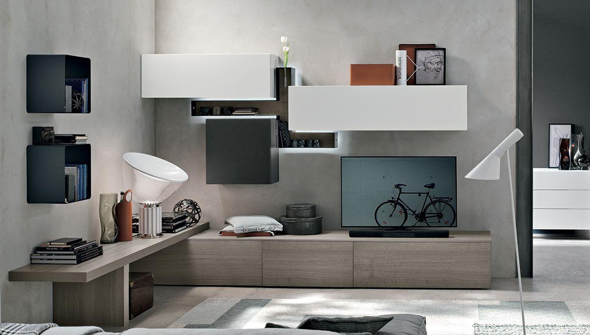 Scrivania soggiorno ~ Soggiorno moderno con parete attrezzata scrittoio